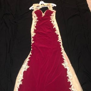 Let's boutique long prom dress red burgundy & gold